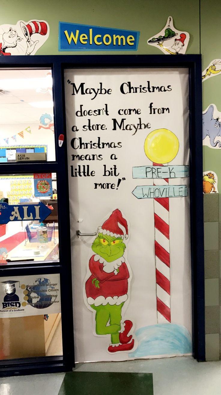 Cartoon classroom door - The Grinch Classroom Door Christmas Theme