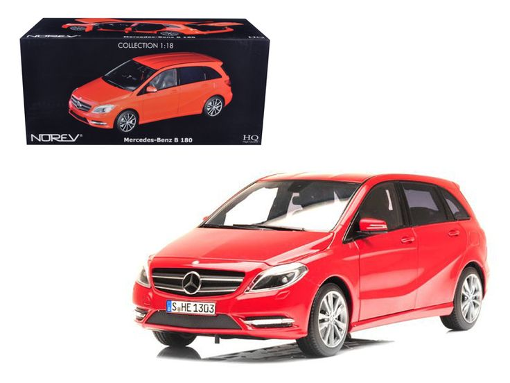 2011 Mercedes B180 Red 1/18 Diecast Car Model by Norev - Brand new 1:18 scale diecast car model of 2011 Mercedes B180 Red die cast car by Norev. Brand new box. Rubber tires. Has steerable wheels. Detailed interior, exterior. Has opening hood, doors and trunk. Made of diecast with some plastic parts. Dimensions approximately L-10, W-4, H-3.5 inches.-Weight: 4. Height: 8. Width: 15. Box Weight: 4. Box Width: 15. Box Height: 8. Box Depth: 7