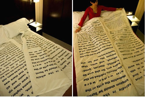 Once upon a time, 14 students from the Royal College of Art in London partnered with the Great Eastern Hotel to put together a collection of installations that invited visitors to view the hotel as more than just a temporary resting place. One of the installations was called Bedtime Stories and included this blanket.  Made of several sheets, the blanket can be unfolded like giant pages - and yes, that's a full bedtime story printed on them. No word on what the tale is, but I'm definitely…