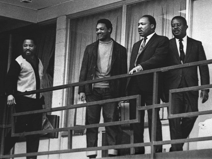 Martin Luther King had complicated legacy on gun violence. Martin Luther King Jr. was surrounded by guns, even though he didn't like them. || Hosea Williams, Jesse Jackson, Martin Luther King Jr. and Ralph Abernathy (l-r) on the balcony of the Lorraine Motel in Memphis, the day before King's...