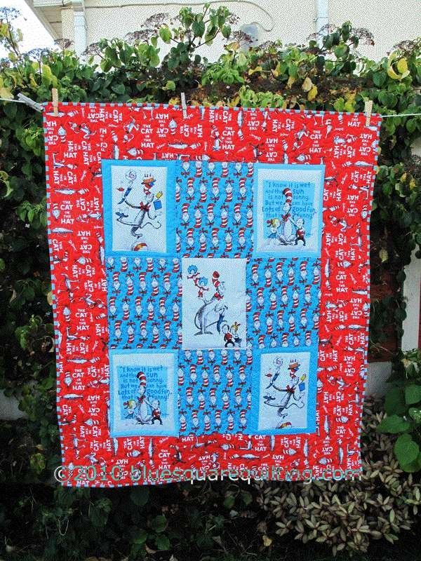 Dr Seuss Cat in the Hat Baby Quilt by bluesquarequilting on Etsy