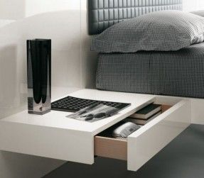 Futuristic Bedroom Set With Suspended Bed - Aladino Up from Alf