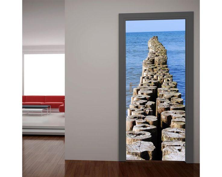 Ξύλινο μονοπάτι στην θάλασσα, αυτοκόλλητο πόρτας , δείτε το!