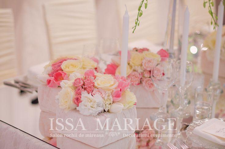 Decoratiuni nunta suport lumanari masa de sticla IssaEvents 2017