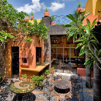 832 best Mexican Gardens images on Pinterest | Mexican ... on Mexican Patio Ideas  id=77270