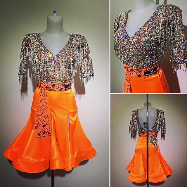 Lovely bright tangerine skirt and bugle bead drops and crystal top #abrahammartinez #newdress #latin #cristalfringes #swarovski #grandslam #shanghai