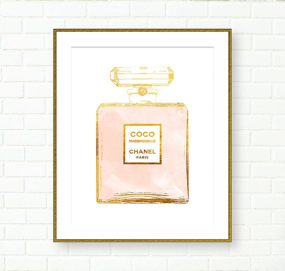 Coco Chanel Gold Perfume Print, Cooc Mademoiselle, Fashion Art, French Decor, Gold Foil Print, Vanity Decor, French Wall Art, Perfume Poster