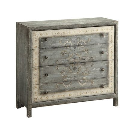 Stow sweaters and throws in vintage-inspired style with this distinctive wood chest, featuring hand-painted scroll accents and a weathered finish.