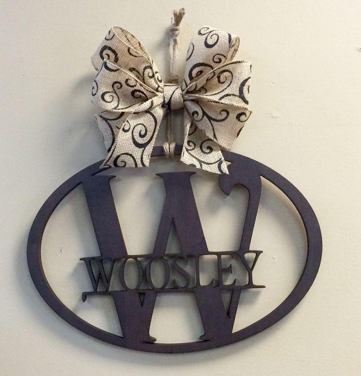 Wood Last Name Monogram Vine Oval Hanger Burlap Bow - Pick Letter Pick Bow by CustomDecorAndGifts on Etsy