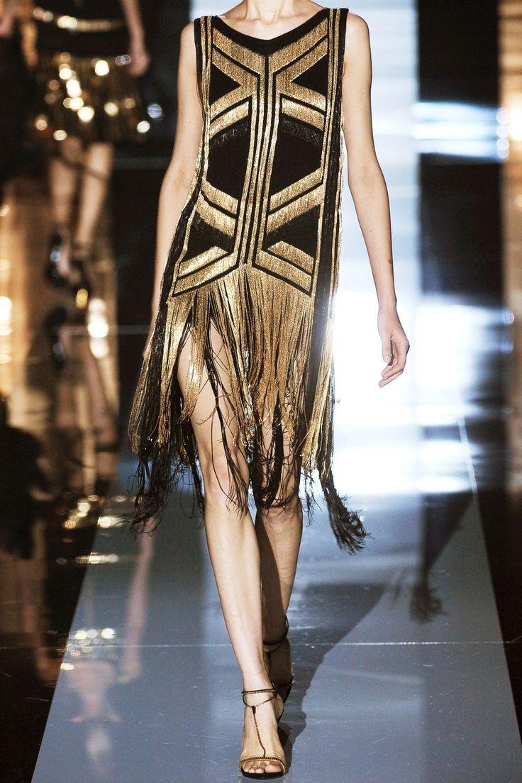 GUCCI  Fringed chain-embellished silk-georgette dress
