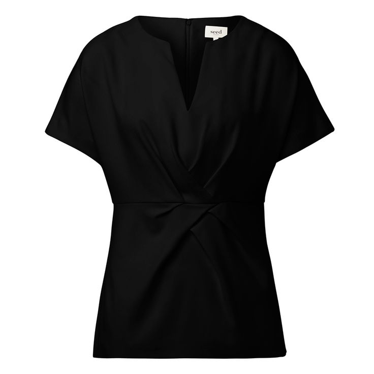 Polyester/viscose Tuck and Sew Top. Comfortable yet neat fitting silhouette features a v-neck, draped front body with waist seam  and a-line hem with invisible back zipper. Available in Cream and Black as shown.