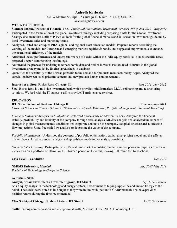Cfa Level 1 Resume Examples #examples #level #resume #resumeexamples