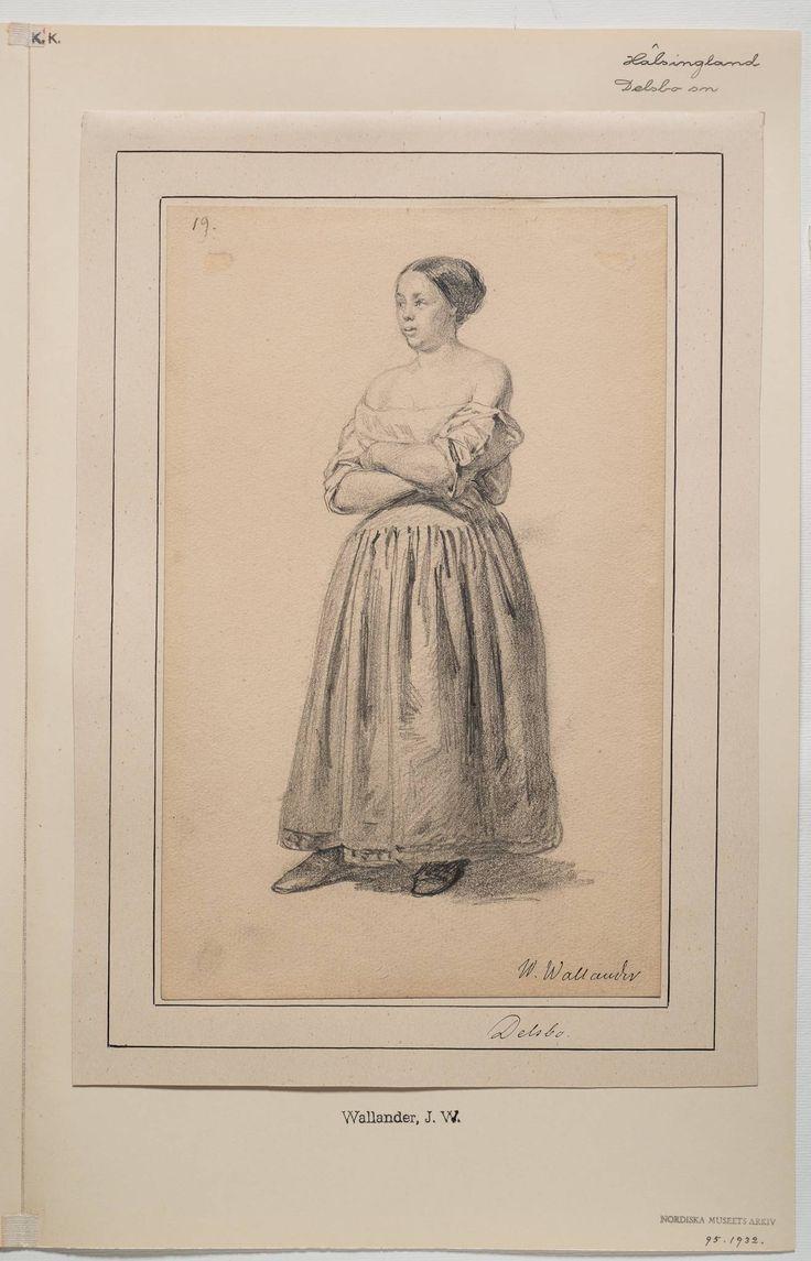 Blyertsteckning av Josef Wilhelm Wallander. Kvinnan har uppsatt hår och bär troligen en särk eller underklänning, även en kjol och överdel eller särk är ett alternativ.