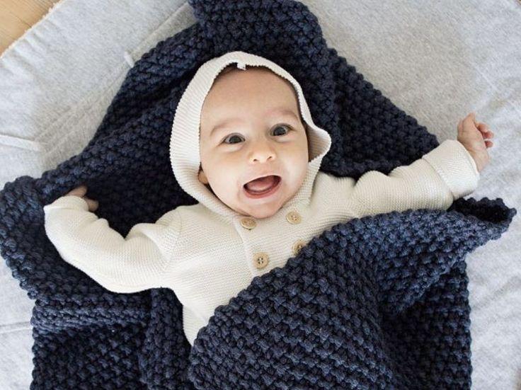 DIY-Anleitung: Babydecke im Perlmuster stricken via DaWanda.com