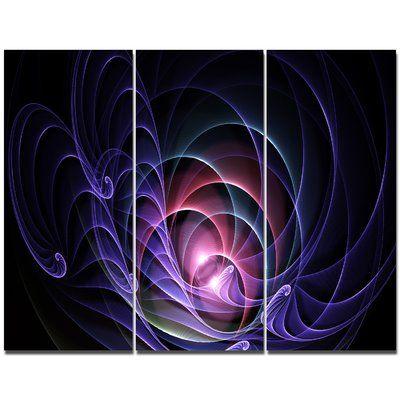DesignArt 'Blue 3D Surreal Fractal Design' Graphic Art Print Multi-Piece Image on Canvas