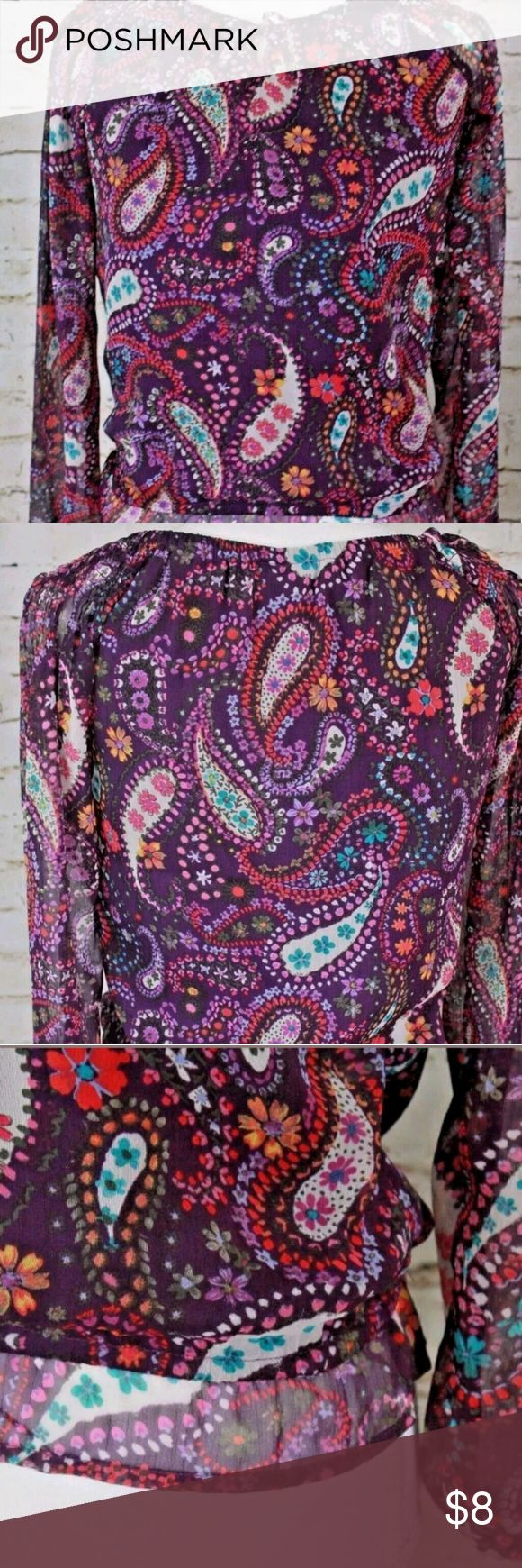 Children's Place size 10/12 Girls Blouse The Children's Place size 10/12 girls long sleeve purple paisley blouse. 100% polyester great pre-owned condition. Comes from a smoke free home.? Children's Place Shirts & Tops Blouses