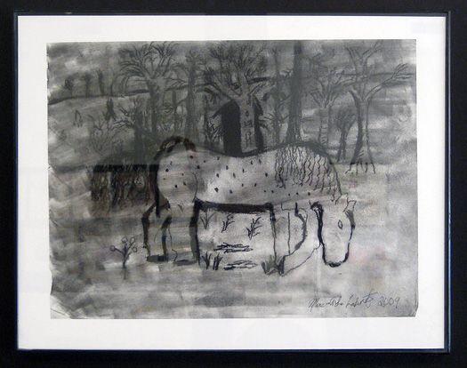 #19   Title: Horse   Artist: Marc La Bonte   Medium: Charcoal on paper   Framed: 11 in x 14 in