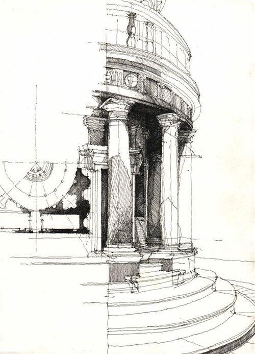 sketches (of Bramante's Tempietto?)