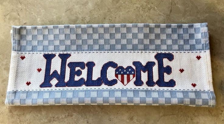 """Completed Cross Stitch Towel, """"Welcome"""", Americana Decor, Red White and Blue    eBay"""
