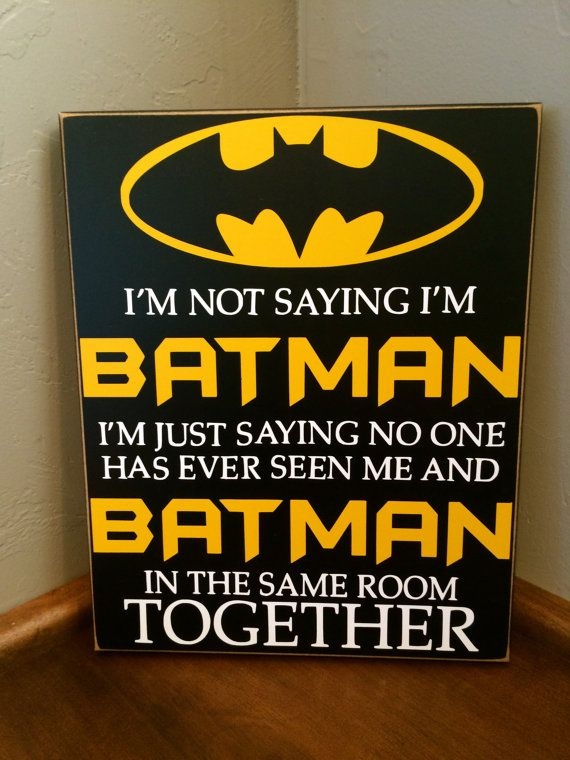 Super cute wood sign for superhero fans! Perfect for boys bedroom decor or even playroom decor! http://www.etsy.com/listing/206304036/batman-wood-sign-vinyl-lettering