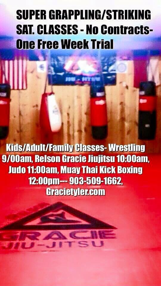 Saturday Youth, Adults Classes @ Relson GRACIE Jiu-Jitsu/Lone Star MMA Academy 3508-B Westway Street, Tyler, Tx 75703 Gracietyler.com