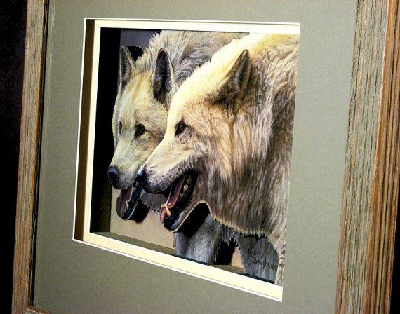 #White #Wolf, #Wolves on the Hunt in a #Barnwood #Frame, #Framed #Art, #3D #Artwork, #Animal Art, #Wolf Art, #Wildlife Artwork #Etsy #wolfart #greatfindsonetsy #customframing