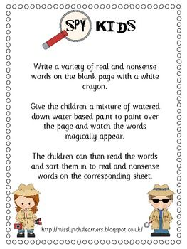 Spy Kids ideas Could use this for bible verses or any words relating to the lesson.