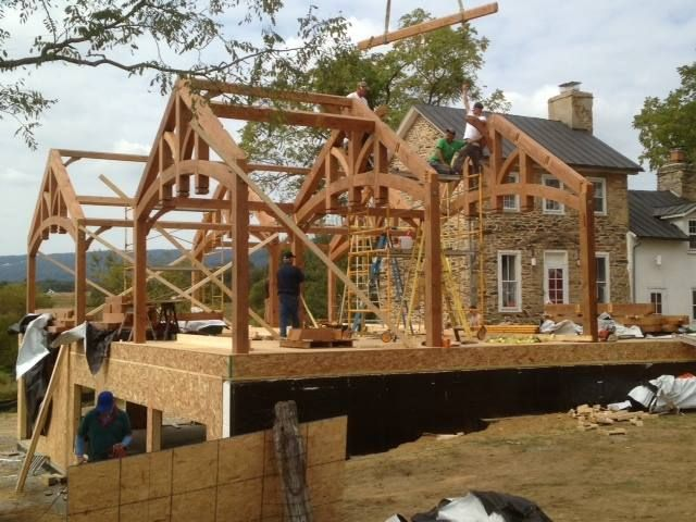 Timber framed addition by TFBC member Heavy Timber Truss & Frame.