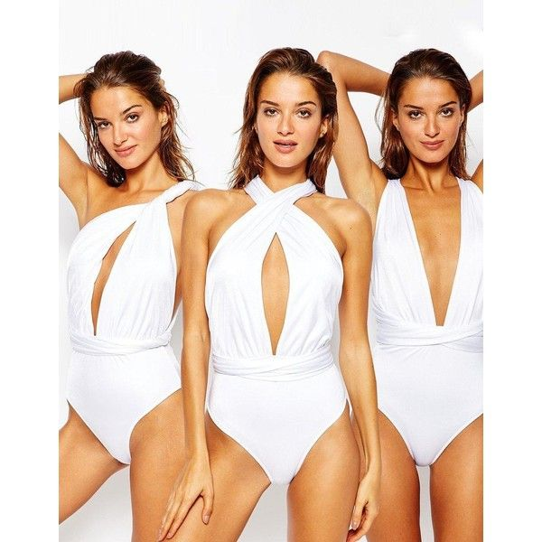 ASOS Multiway Swimsuit (£29) ❤ liked on Polyvore featuring swimwear, one-piece swimsuits, white, swimming costumes, swim costume, low back swimsuit, swimsuit swimwear and white one piece swimsuit