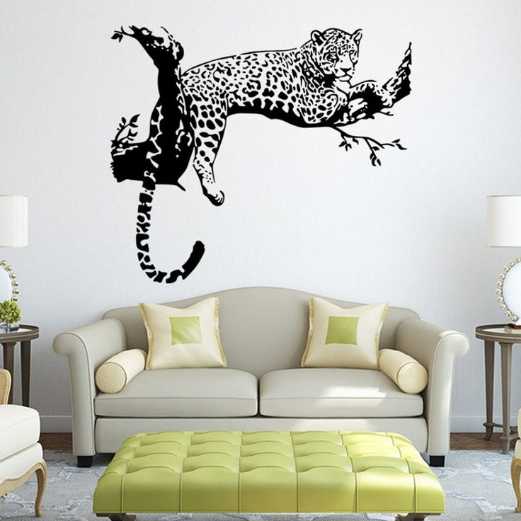 tiger leopard waterproof wall sticker home decor creative living room stickers pinterest brick wallpaper and design