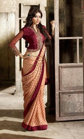 Peach and Maroon Color Wrinkle Chiffon Designer Sarees : Mallaika Collection YF-20054