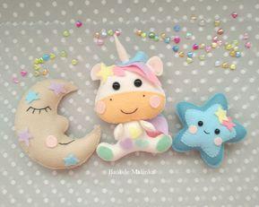 Felt mobile toys. Sewing pattern of felt ornaments. Unicorn pattern. Felt ornaments. Felt star and moon.