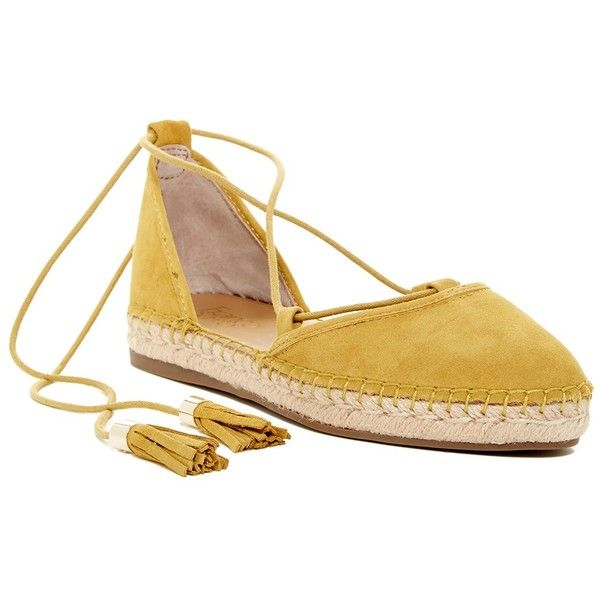Franco Sarto Dream Suede Lace Espadrille (935 EGP) ❤ liked on Polyvore featuring shoes, sandals, gldn yellow, suede lace up sandals, yellow espadrilles, lace up espadrilles, suede shoes and tassel sandals