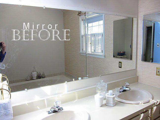 How To Frame A Bathroom Mirror, How To Install Trim Around Bathroom Mirror