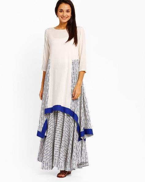 Buy Off-White AJIO Printed Kurta with Dipped Hemline | AJIO