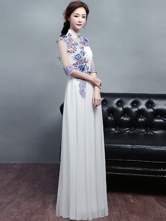5520ad93926 Custom Made White Embroidered Long Qipao   Cheongsam Dress
