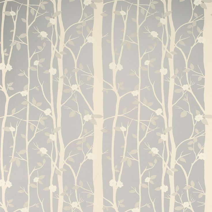 Laura Ashley Cottonwood Leaf Metallic Wallpaper Silver - love this as another contender for the dresser