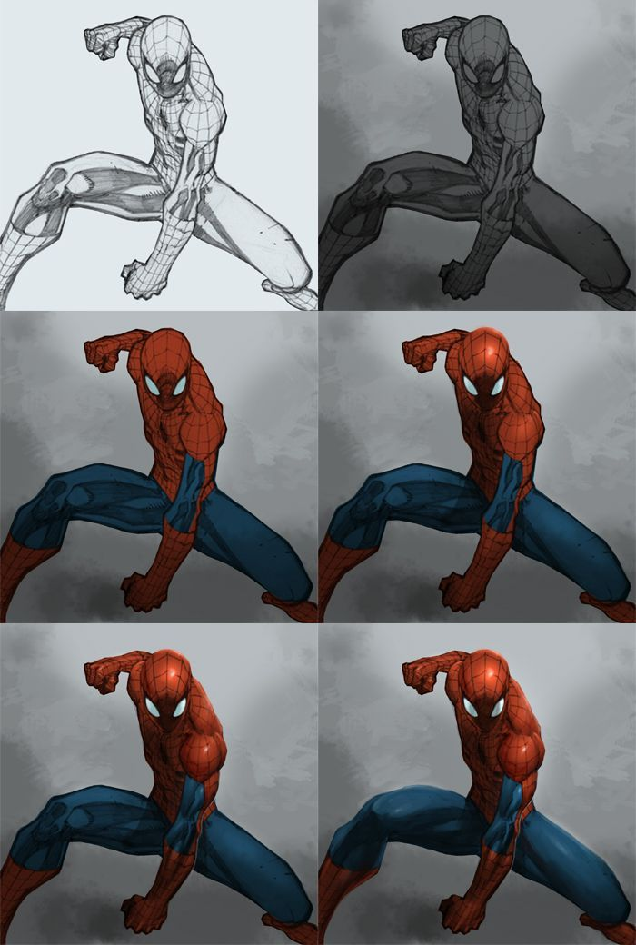 Pin By David Green On Montres Enfant Digital Painting Tutorials Spiderman Drawing Painting Tutorial