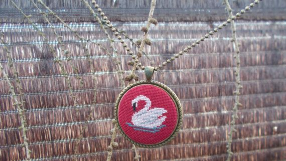 Pendant with a white swan by DoriArt on Etsy