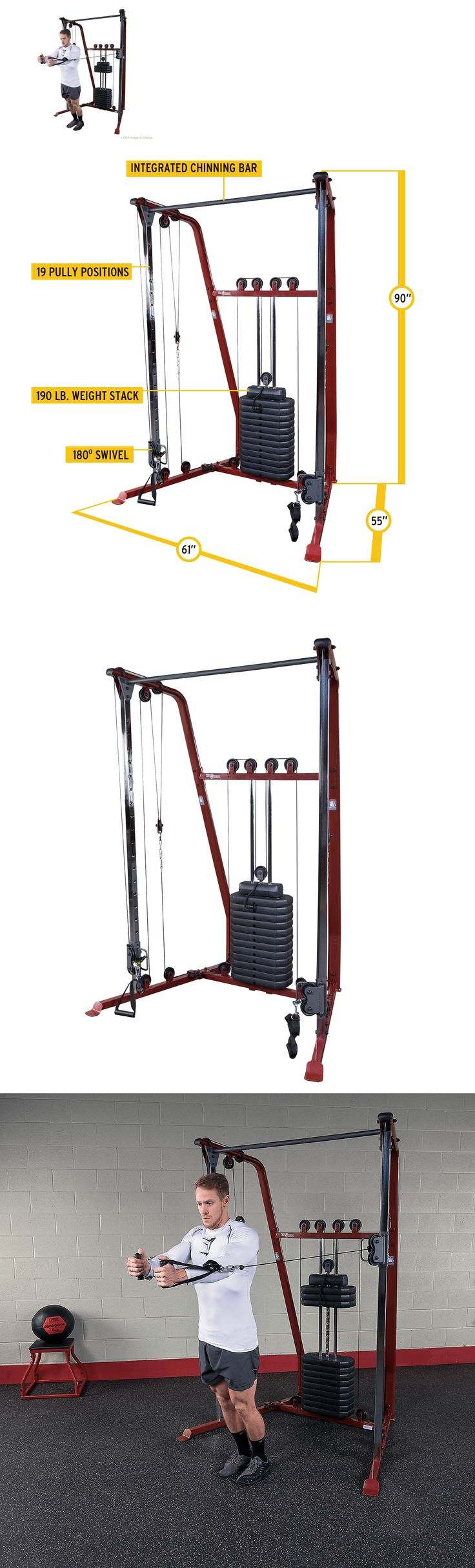 Home Gyms 158923: Functional Trainer W/ 190 Lb Weight Stack, Best Fitness Bfft10 Home Gym Machine BUY IT NOW ONLY: $560.0