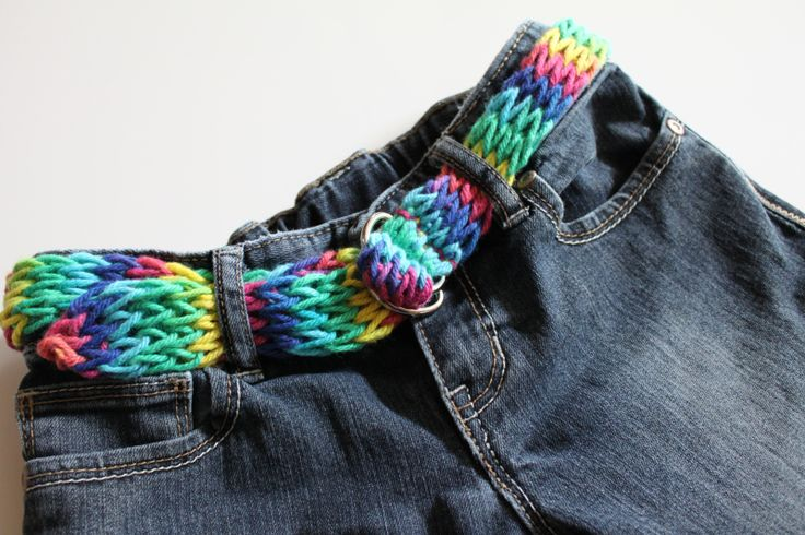 Rainbow Belt Knitted with a Homemade knitting Nancy ( french knitting, knitting nancy)  inspirational Arts and Crafts Projects for fans of http://www.Lucylearns.com , knit, string,teen,diy, project, recycle