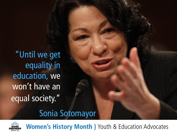 Sonia Sotomayor, an Associate Justice of the Supreme Court of the United States. She is its first Hispanic justice and its third female justice.