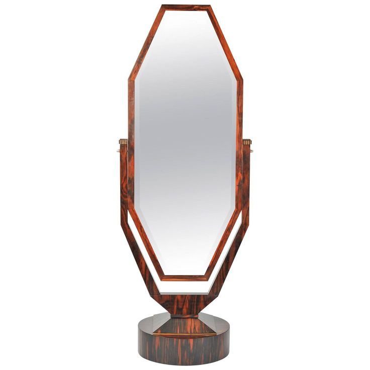 Free Standing Art Deco Cheval Mirror in Palisander Attributed to Maurice Dufrene | From a unique collection of antique and modern floor mirrors and full-length mirrors at https://www.1stdibs.com/furniture/mirrors/floor-mirrors-full-length-mirrors/