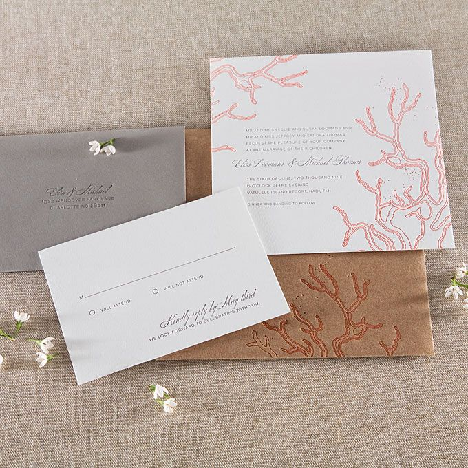 Beach wedding invitations | beach wedding invitations an illustration of coral letterpress printed ...