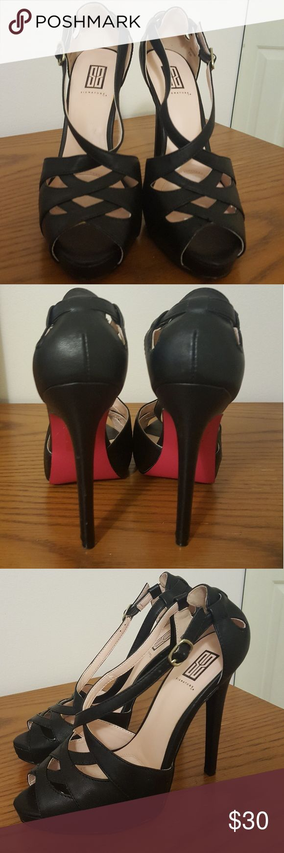 Shoe dazzle Syleena black high heels Size 7 Black. Size 7. Shoe Dazzle Signature Collection Syleena platform high heels. Pink soles, super cute. Features an insole comfort pad for luxe wearability. Brand new, only worn around the house to try them on. Shoe Dazzle Shoes Heels