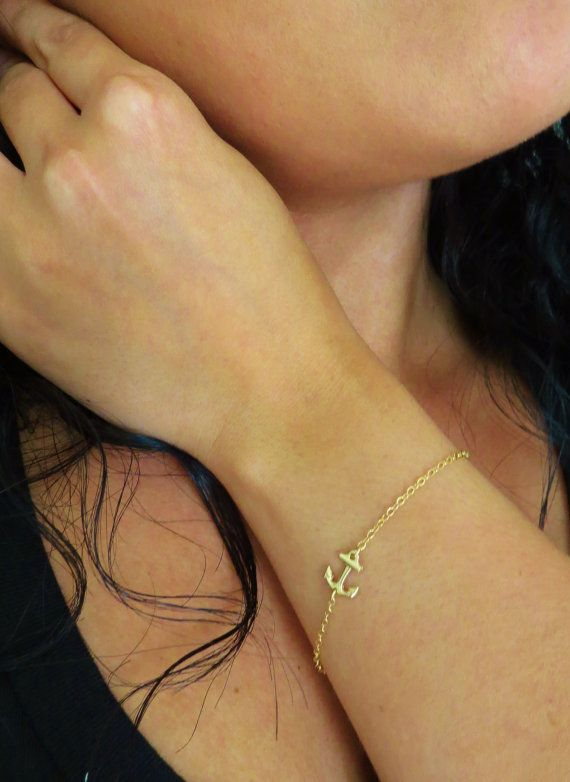 Gold Anchor Bracelet Anchor Jewelry Sideways Anchor by Keepitclose, $16.00
