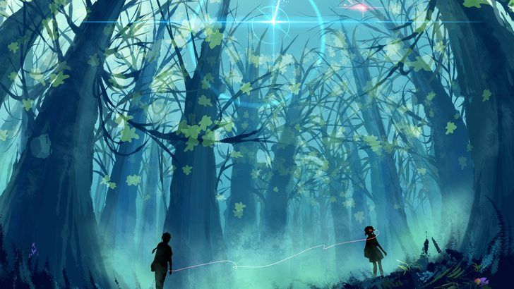 Your Name Anime Scenery Comet Forest Wallpaper Anime Scenery Scenery Anime Art Dark