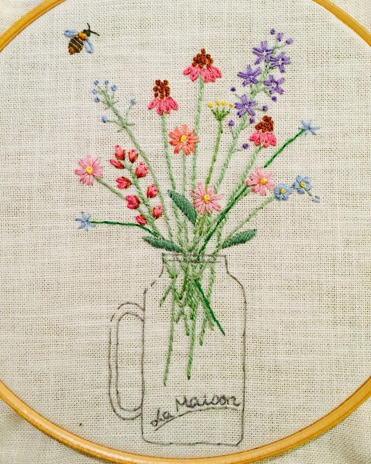 Embroidered flowers in a jar (and a bee!)