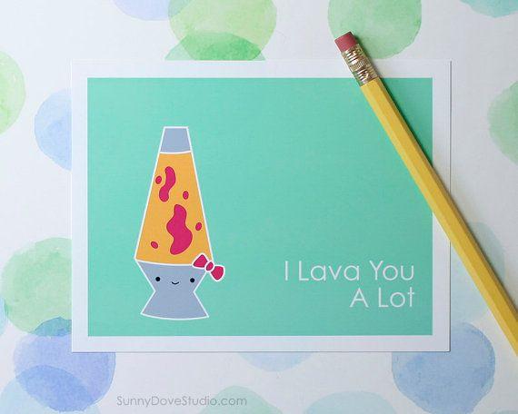 Kawaii Love Pun Card by SunnyDoveStudio #etsy #cute #kawaii #love #greetingcards #cards #pun #handmade #lavalamp