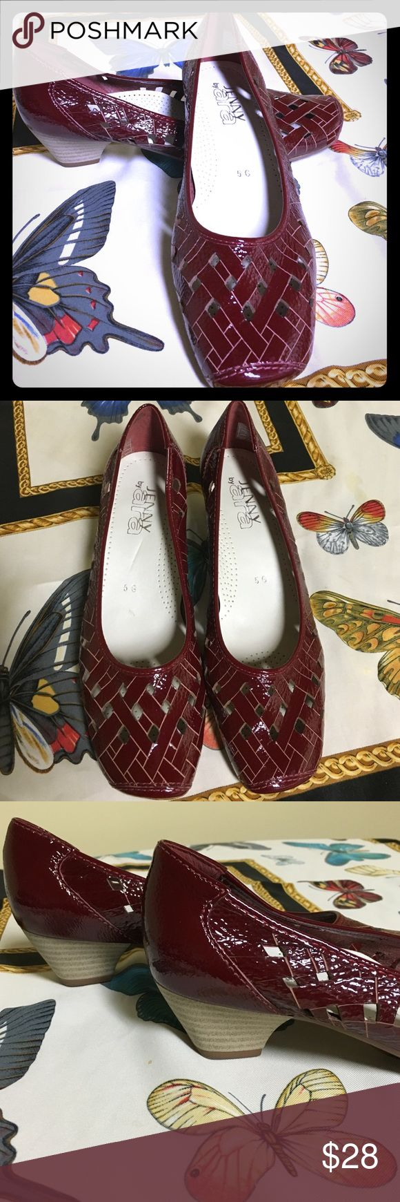 """Jenny by Ara Burgundy Patent Lattice Low Heel Pump Beautiful, comfortable and in great condition. Soft patent leather in a lattice pattern. Clean and great looking. Nice cushioned insole. Minimal wear. Size is marked 5G. About a US 7.5. I am a size 7 and they are about 1/2 size too big for me. Heel is 1.5"""". Insole heel to toe measures approx 10"""". Excellent 'comfort' shoe! Beautiful burgundy/maroon color. Like black cherry😜 Jenny by Ara Shoes Heels"""